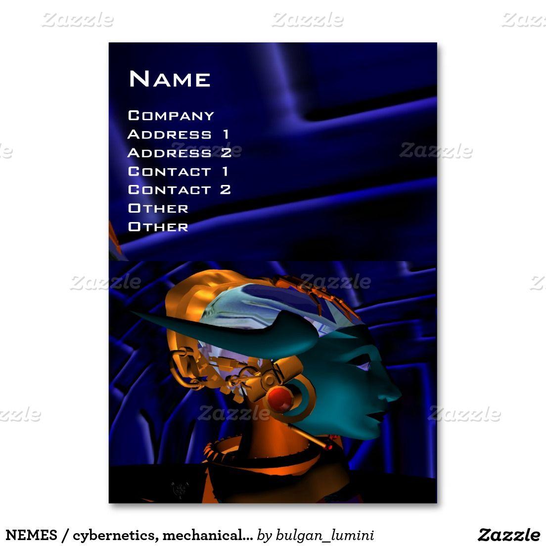 NEMES / cybernetics, mechanical engineer,blue Large Business Card