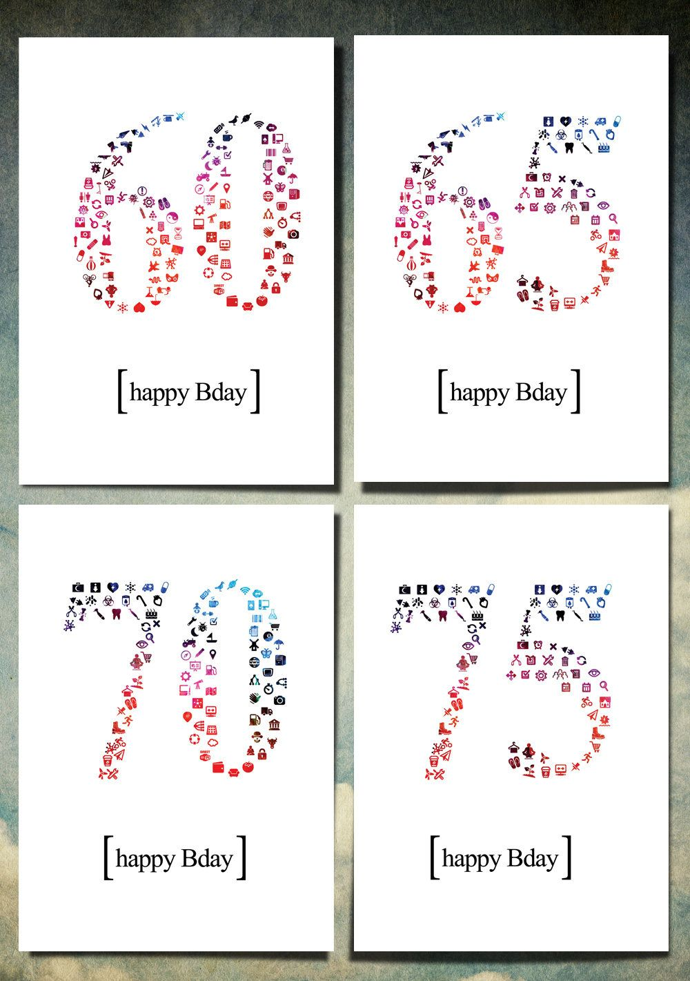 4 Printable Happy Birthday Card   customized numbered 60 to 75 years 60   65 I 70 I 75 ICON & ELEMENT Instant download Card   Print yourself by NettaWagner on Etsy