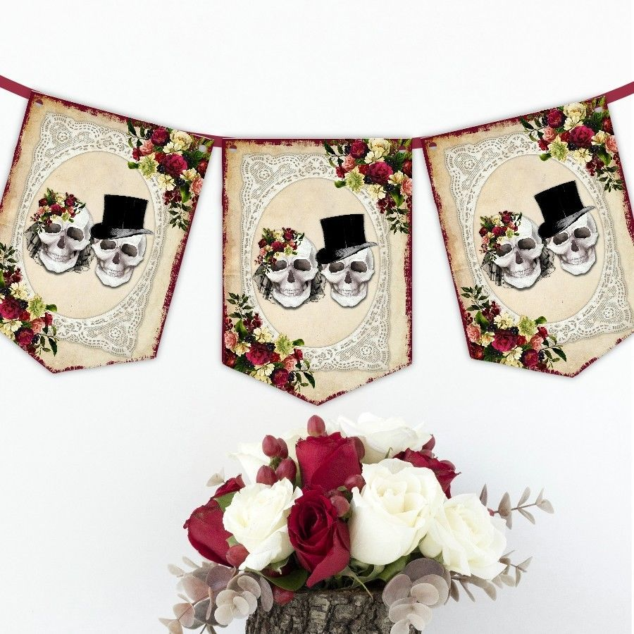 Wedding decorations red  Details about Skull Wedding Bunting Skull Banner Red Rose Gothic