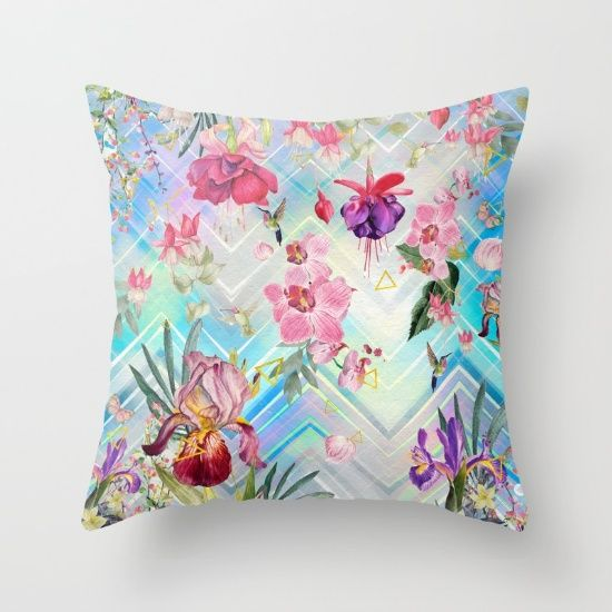 Geometric with tropical nature Throw Pillow