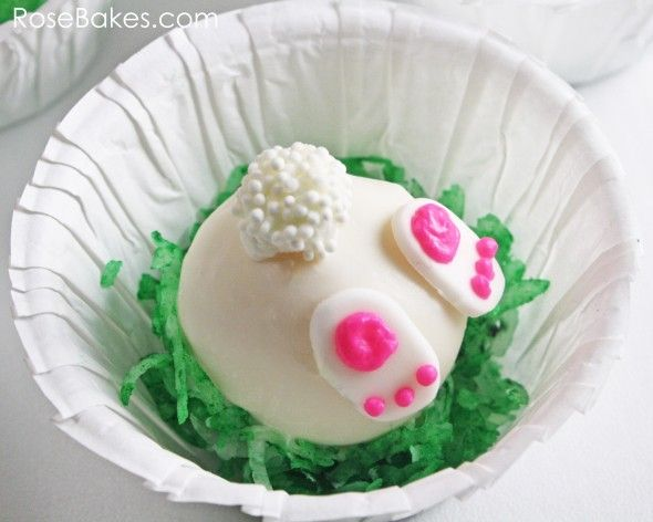 Bunny Tails Cake Balls recipe, in a little paper ramekin. That is so clever!