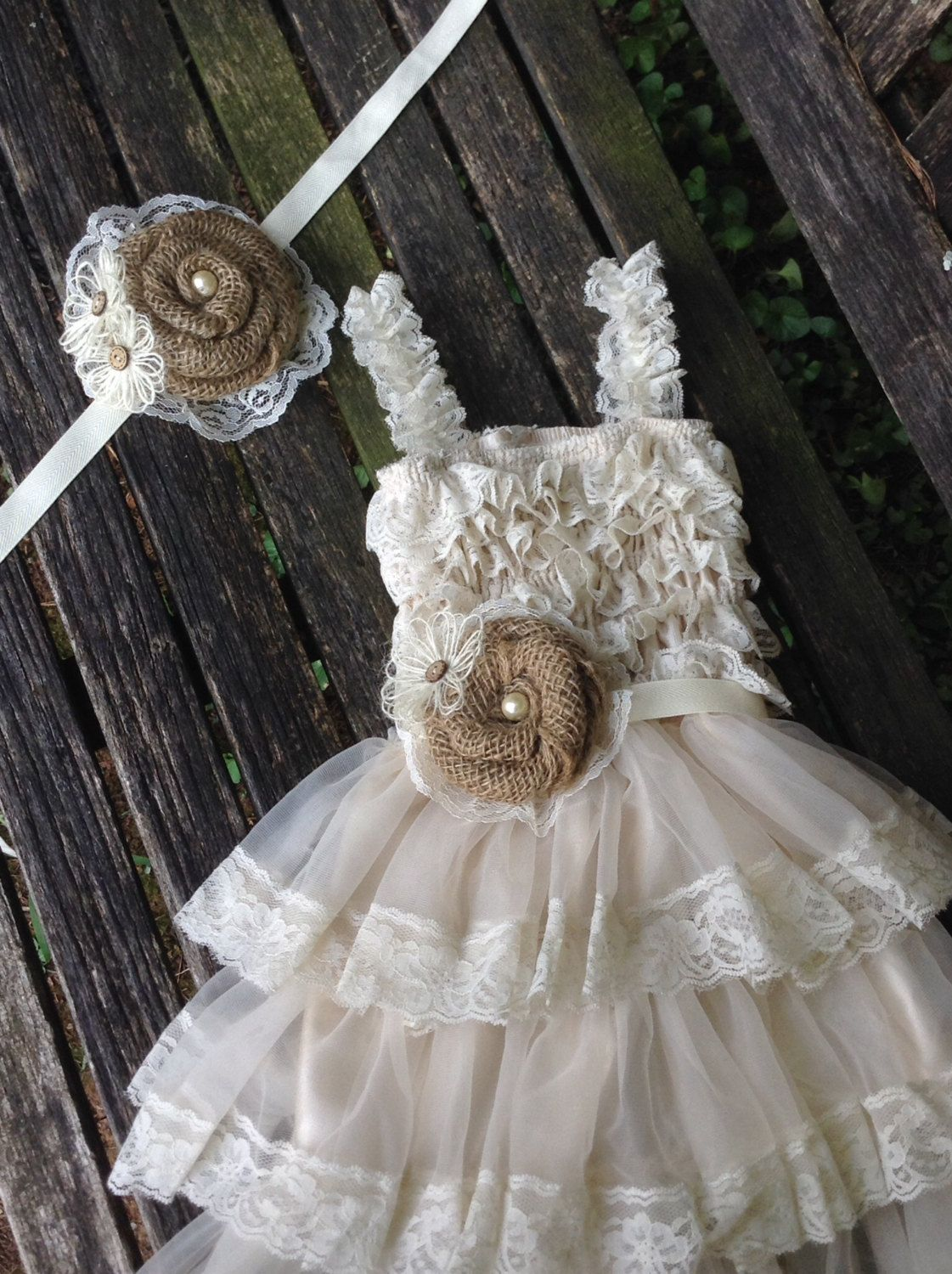 Rustic Flower Girl Dress / Burlap and Lace Shabby Chic Flower Girl ...