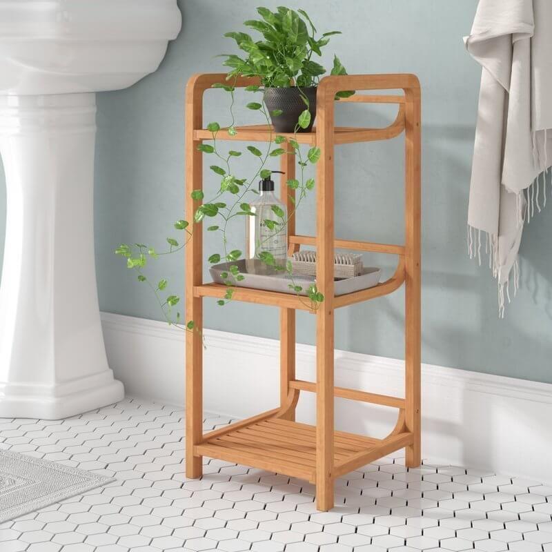 Small Bamboo Bathroom Shelf Slatted Shelves Decor Furniture