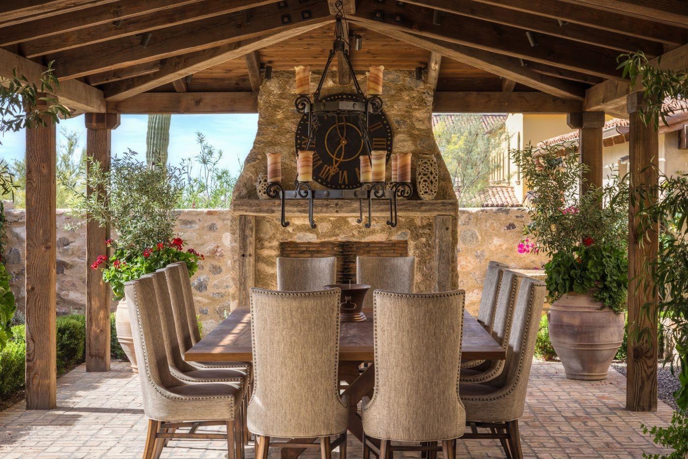 Mediterranean-inspired Outdoor Dining Loggia set in Walled Garden ...
