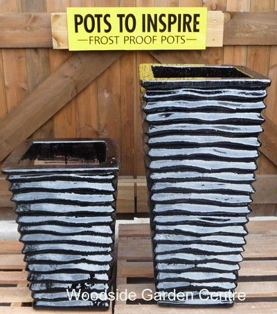 Tall Square Lined Glazed Black Garden Pots | Woodside Garden Centre | Pots  To Inspire