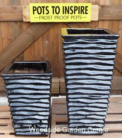 Tall Square Lined Glazed Black Garden Pots | Woodside Garden Centre | Pots  To Inspire
