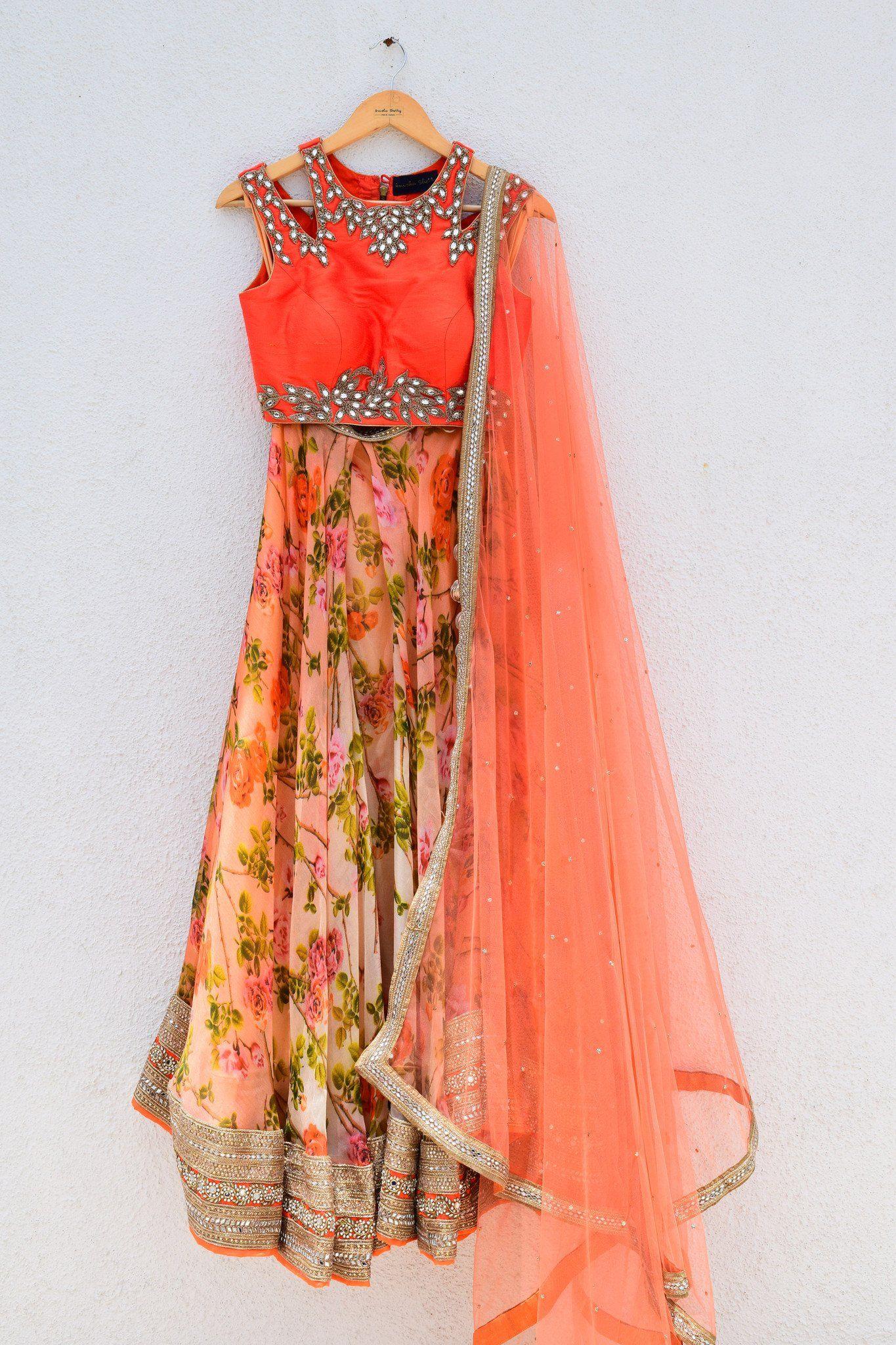 Floral printed lehenga with orange cutwork blouse desi floral and