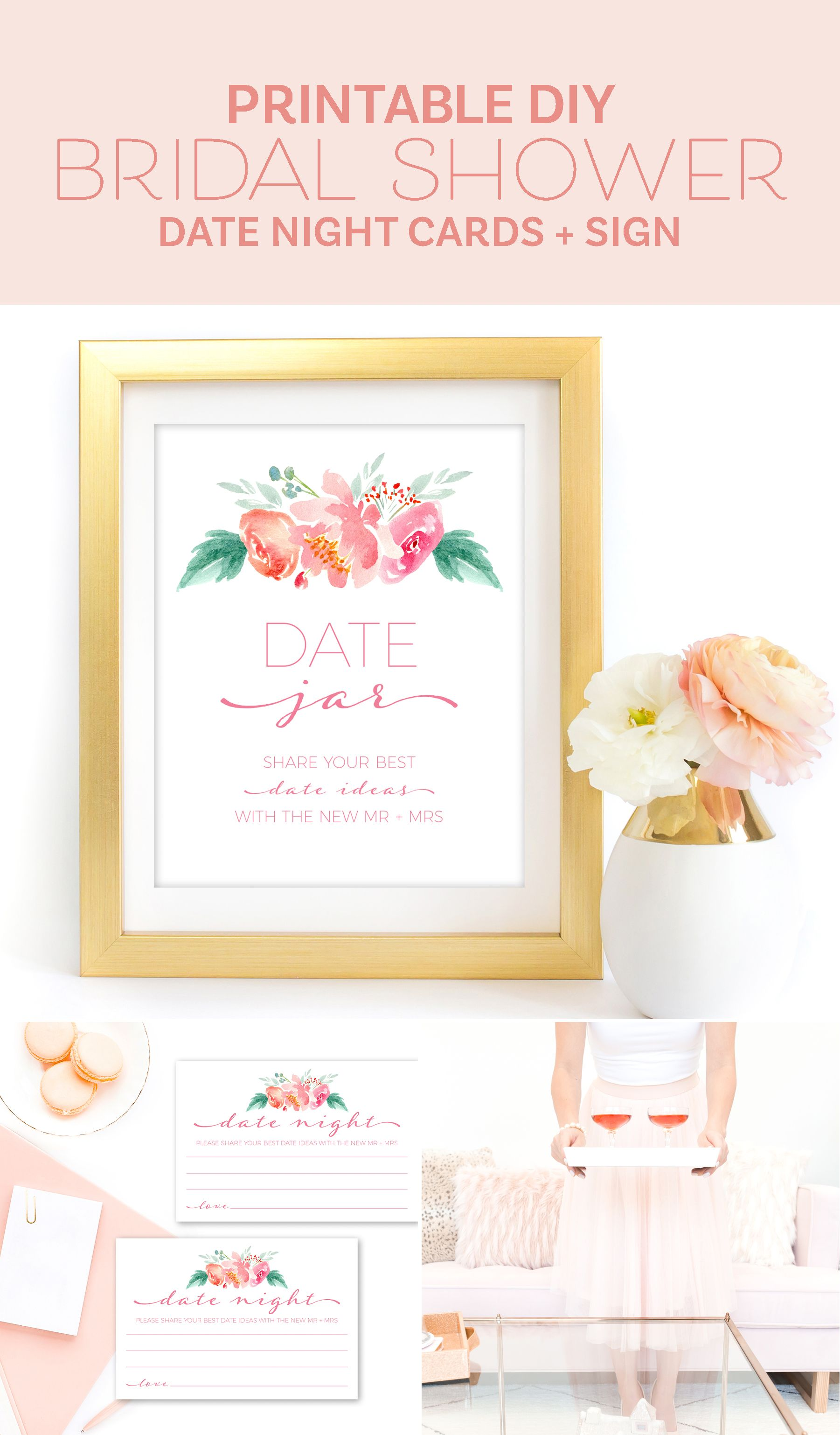 Bridal Shower Date Jar Sign and Date Night Cards - Printable