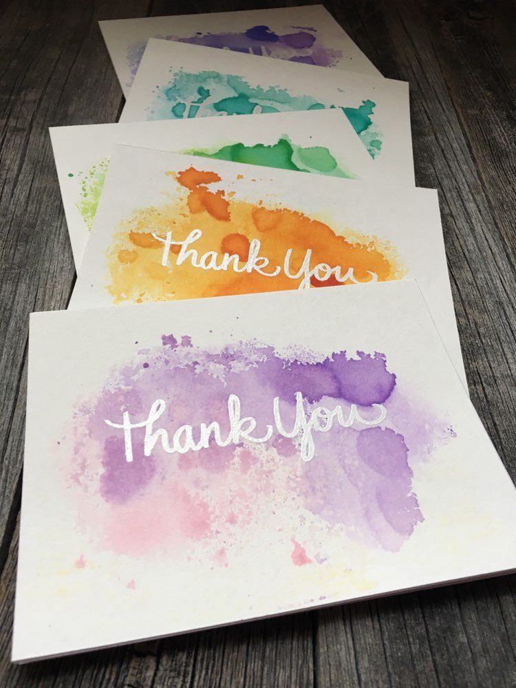 Set Of 5 Hand Painted Abstract Watercolor Thank You Cards White