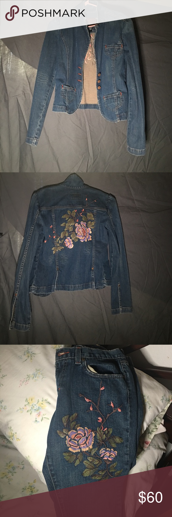 Calvin Klein Printed Jean Jacket w/ matching jeans Size 8 for pants and jacket is a size medium. Great condition and very comfy! Calvin Klein Jeans Jackets & Coats Jean Jackets
