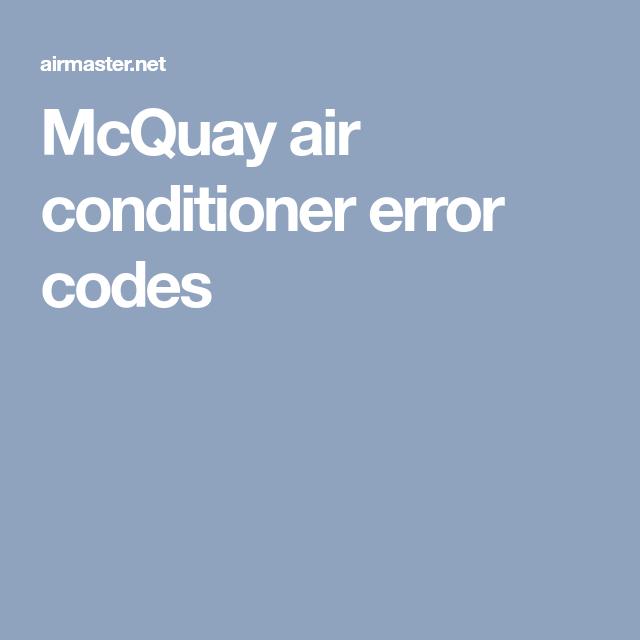 McQuay air conditioner error codes   AirMaster