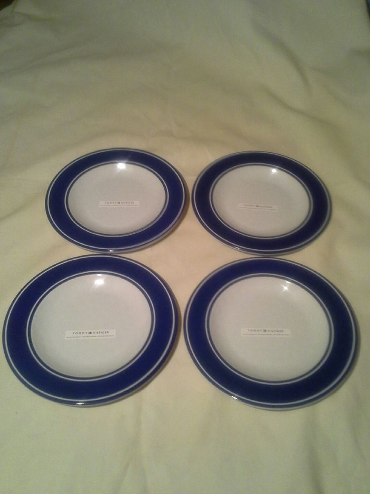 NEW TOMMY HILFIGER Blue White Melamine Salad Plates S/4 BPA Free #TommyHilfiger # & NEW TOMMY HILFIGER Blue White Melamine Salad Plates S/4 BPA Free ...
