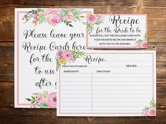 Printable recipe pack for bridal shower in pink. Just mail the recipe cards with the invite and have guests bring them along on the day of the party, giving the bride-to-be lots of tried-and-true dishes!  THIS PACK INCLUDES:  - 4 x 6 recipe card (jpg + 8.5 x 11 pdf)  - 5 x 7 recipe card (jpg + 8.5 x 11 pdf)  - Matching insert card with instructions measuring 3.5 x 2 that you can mail with the recipe cards  - Matching 8 x 10 sign  If youre looking for matching printables - kitchen shower…