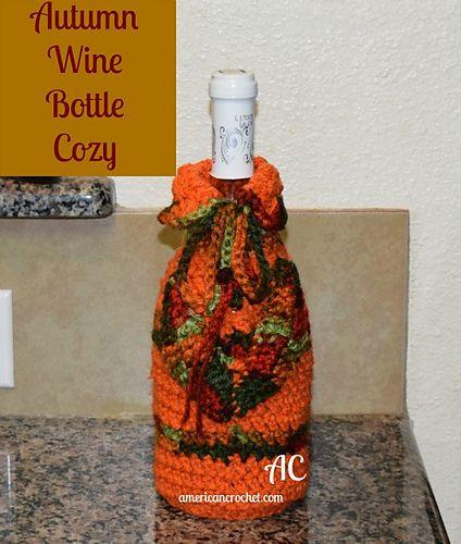 Ravelry Autumn Wine Bottle Cozy Pattern By American Crochet