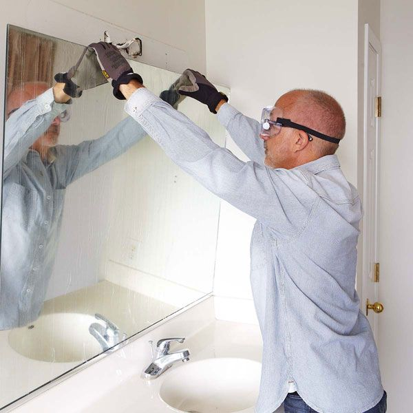 Remove A Glued On Bathroom Mirror. Before Remodeling A Bathroom And Adding A New Vanity Mirror