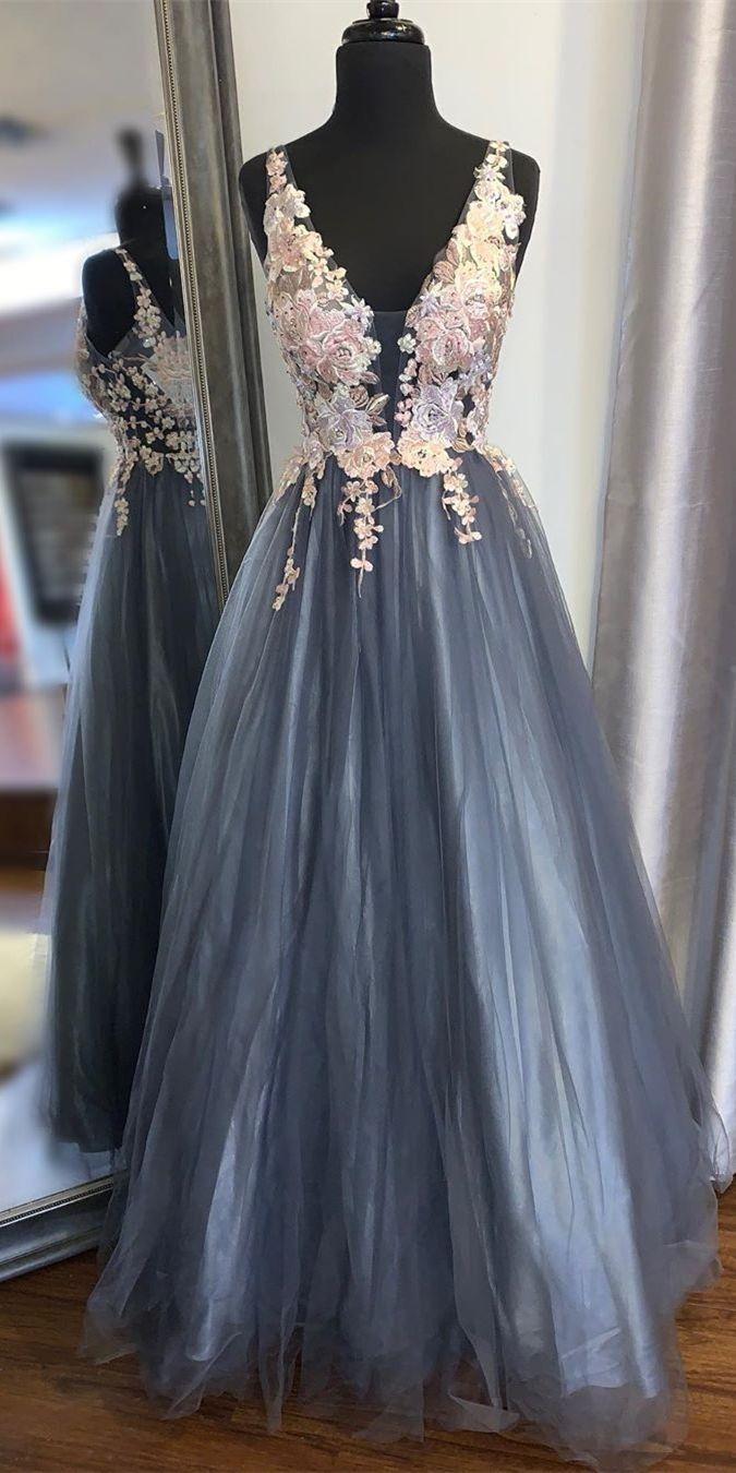 Smoke Blue Prom Gown in 15  Ballkleid, Abschlussball kleider