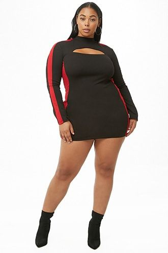 b71cc791be0 Plus Size Colorblock Mini Dress