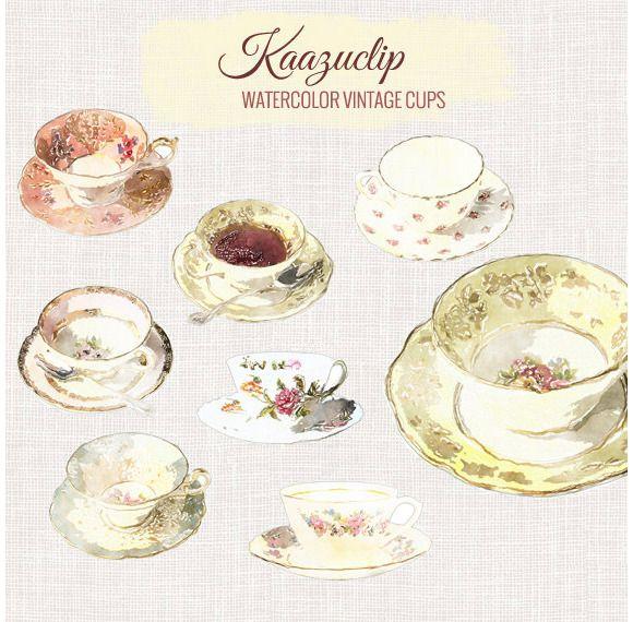 Watercolor Tea Cups by Kaazuclip on Creative Market