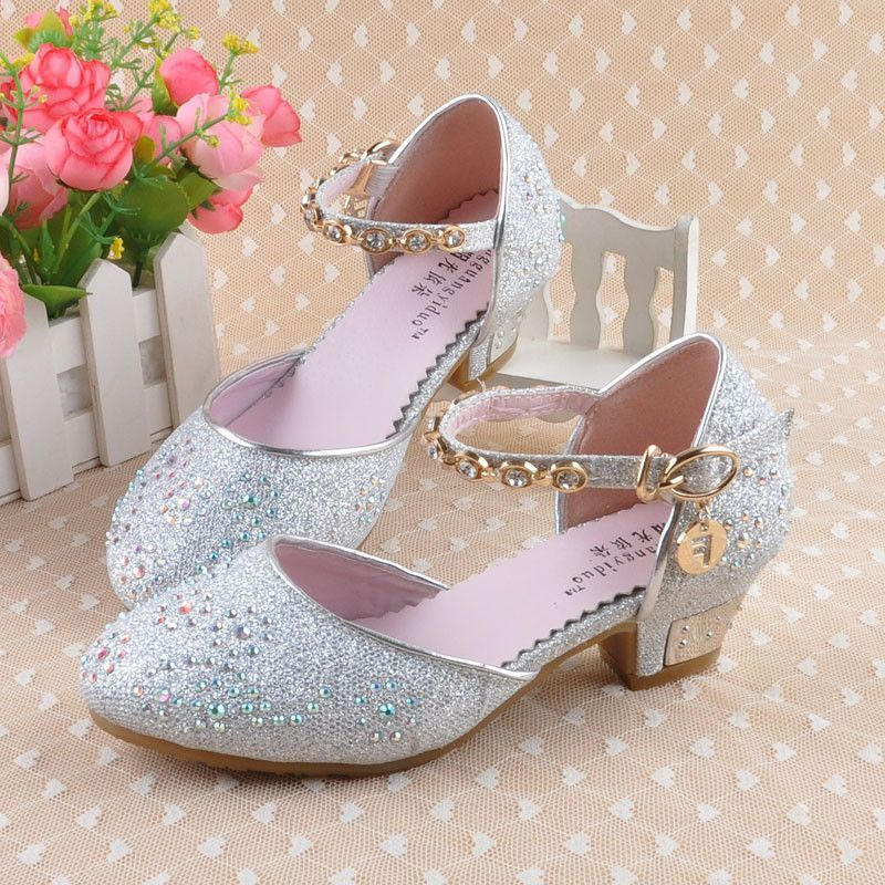 2016 Children Princess Sandals Kids S Wedding Shoes High Heels Single Rhinestone Party Mid