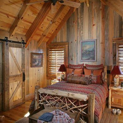 Beautiful Fine Looking Log Cabin Bedroom Decorating