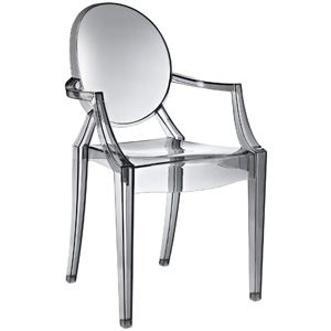 Philippe Starck Style Louis Ghost Chair in Smoke - by LexMod