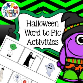 Word to picture Halloween matching; reading strategies.Laminate the picture page as an a4 page to use as a board. Cut out and laminate the box words. Pupils have to match the words to the pictures. Excellent at working out if children are able to recognize objects related to Halloween and how well they can read.