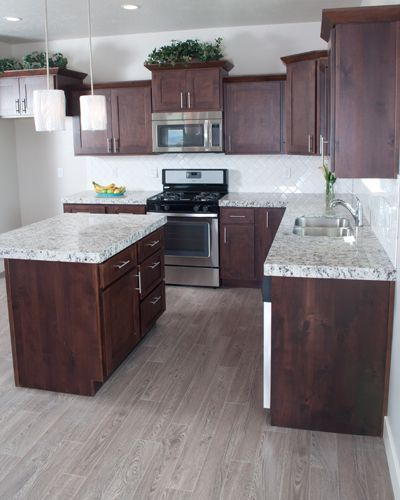 Gray Wood Flooring Kitchen: Small Kitchen Design With Cherry Wood Cabinets