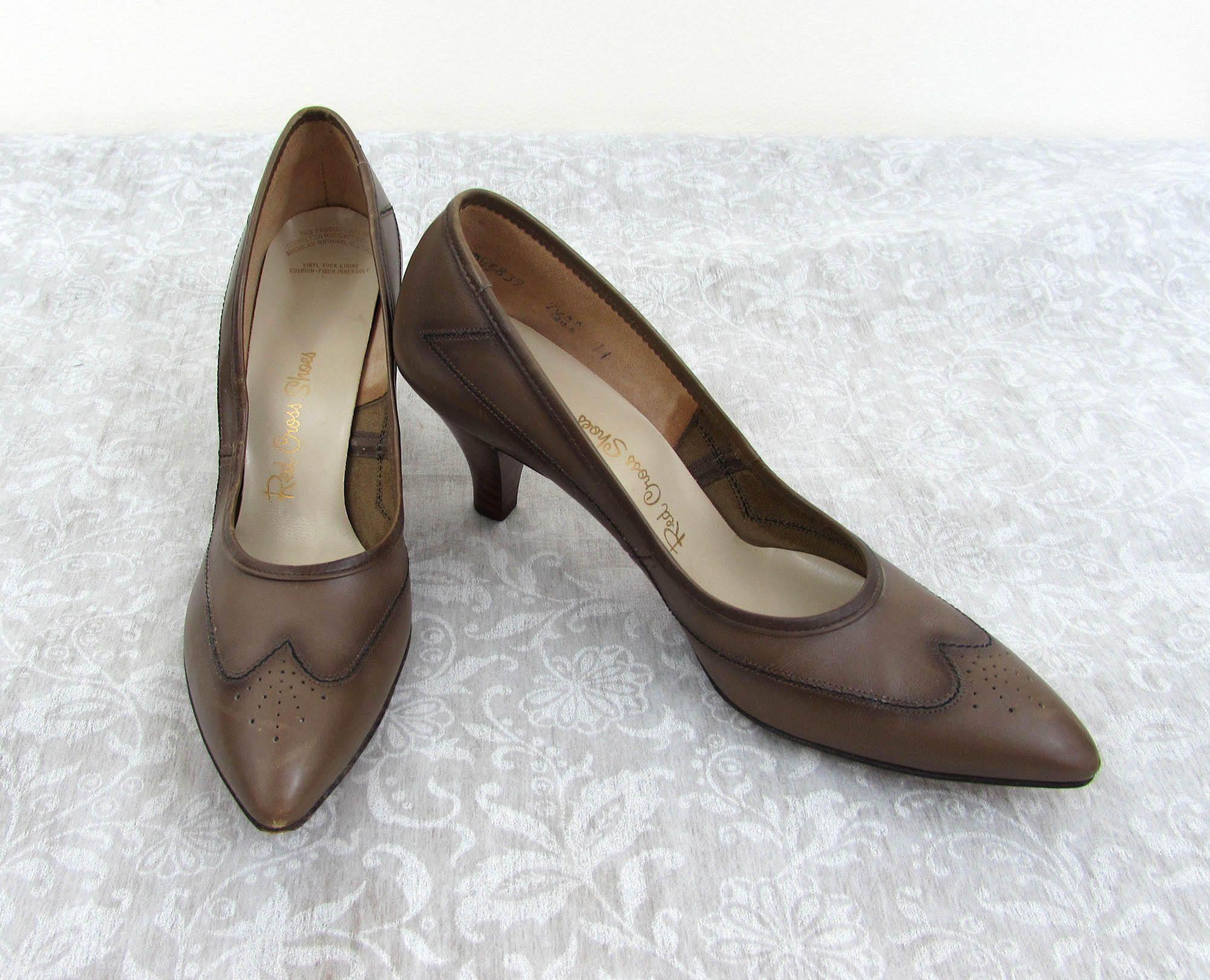 00da92965a242 Vintage Red Cross Heels Shoes - Light Brown Leather Pumps - 2.75 ...