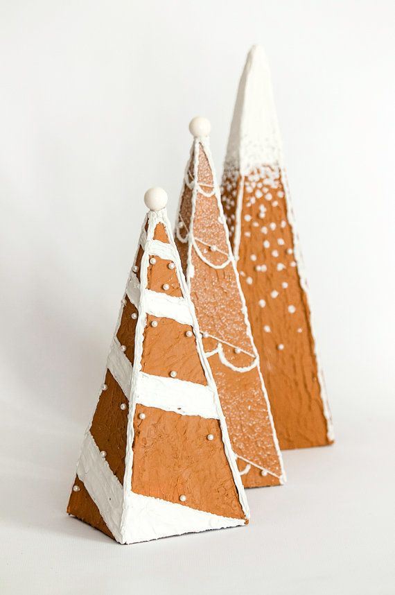 Faux Gingerbread Decorative Trees by DaydreamHunter on Etsy #gingerbread #trees #decor #holidays #gingerbreadhouse #decoration #winter #etsy #daydreamhuntercreations