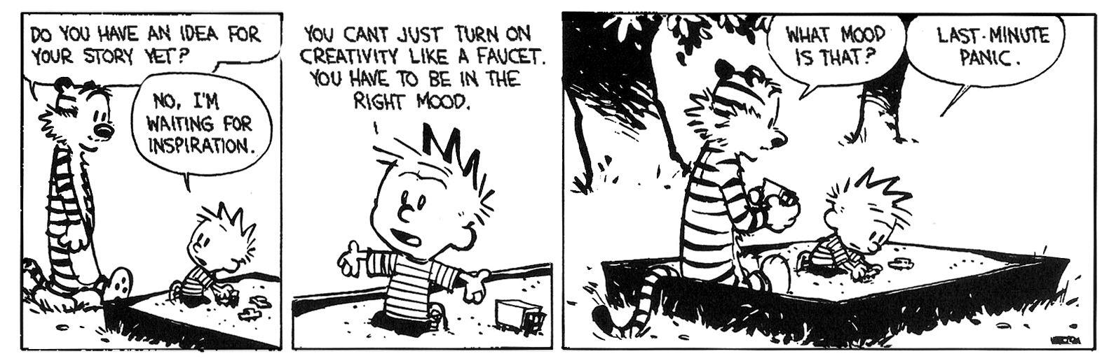 Last Minute Panic Writing Calvin Hobbes Comics Calvin Hobbes