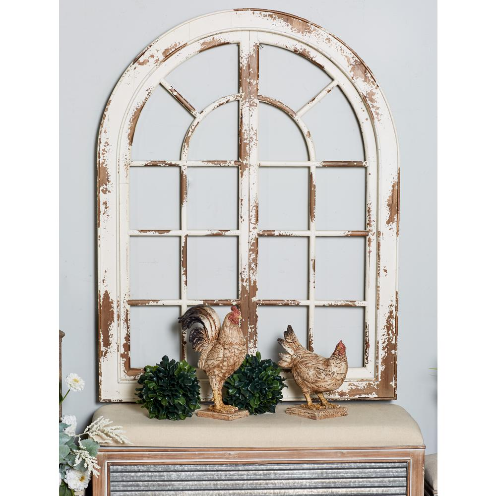 Litton Lane 48 In X 37 In White Arched Window Wood Wall Art