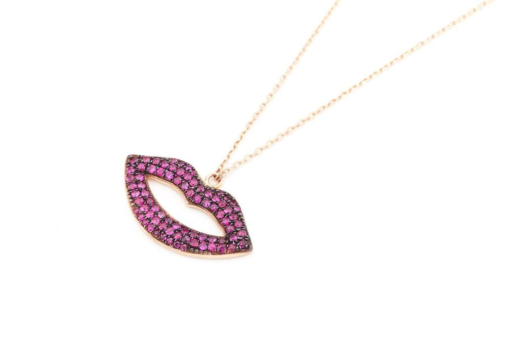 KISS Ruby Necklace in 14K Gold