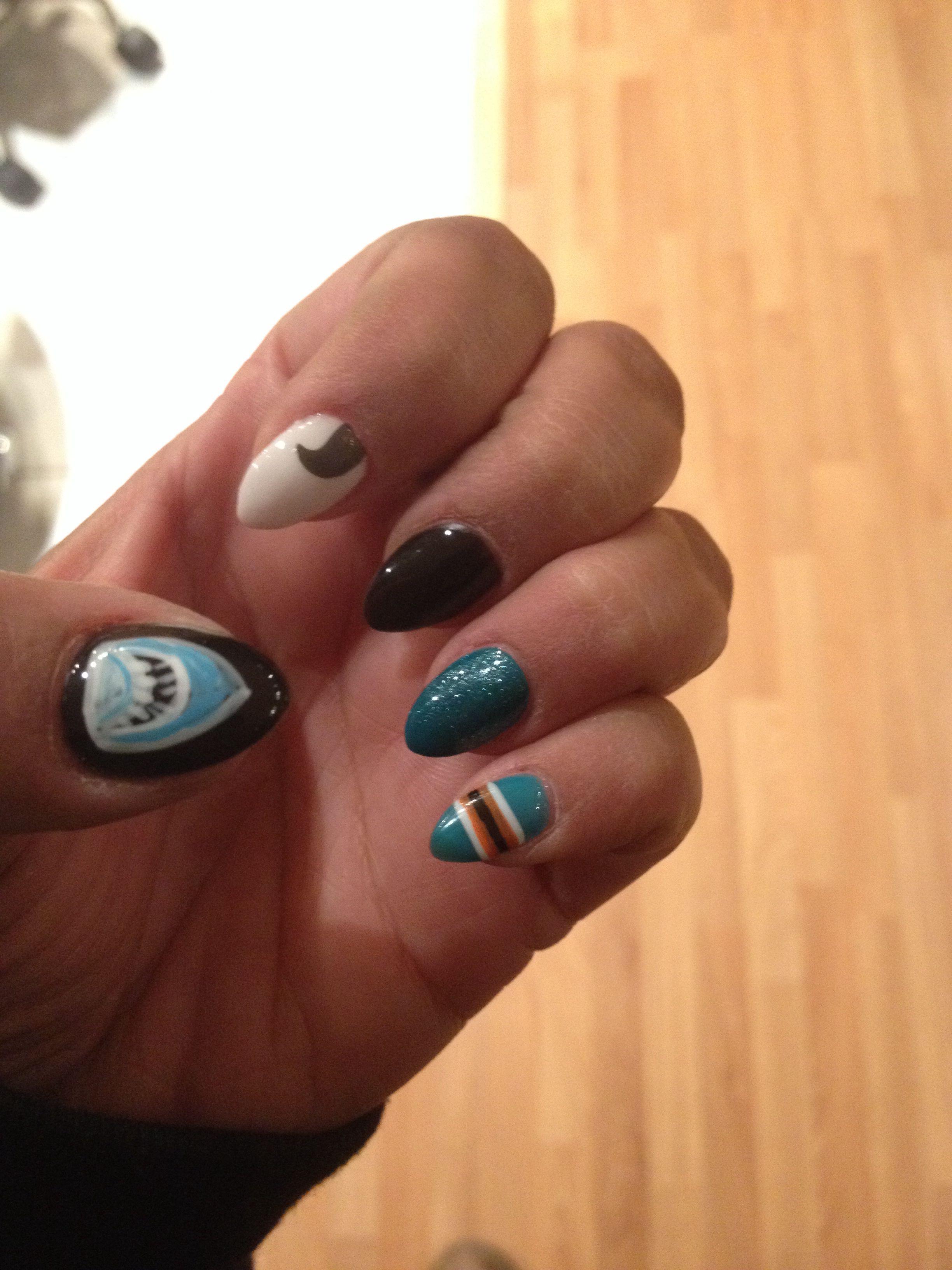 San Jose Sharks Nails Showing My Pride Teal Black San Jose Sharks Nails Nails Nail Art
