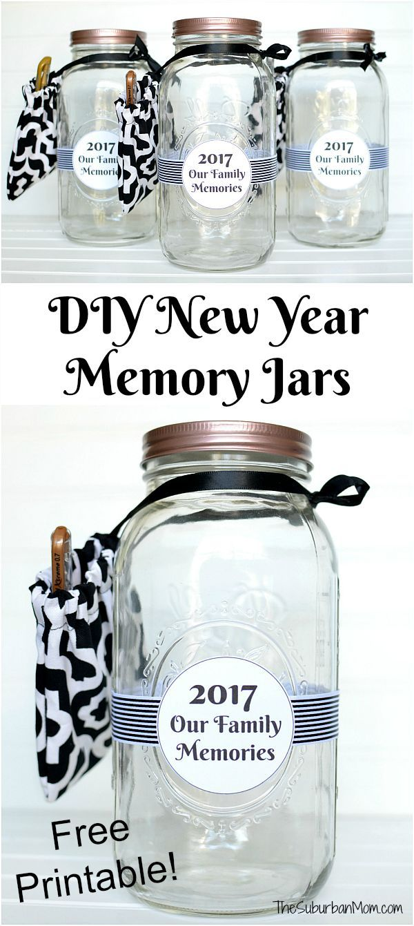 diy new year memory jar with free printable label start one for your family or make these as gifts for friends waverlyinspirations ad