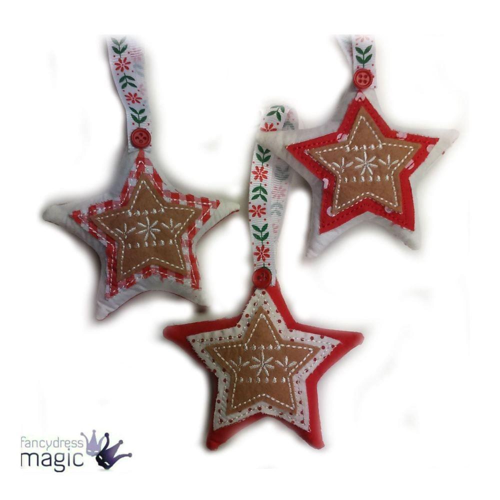 Gisela Graham Applique Nordic Plush Christmas Xmas Star Hanging Tree Decoration | eBay