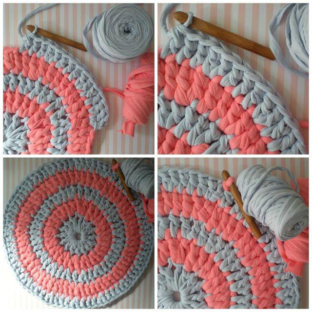 mon monde de la laine tutorial comment faire un tapis avec trapillo 2 mailles et crochet. Black Bedroom Furniture Sets. Home Design Ideas