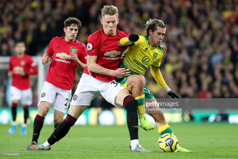 Scott Mctominay Of Man Utd And Todd Cantwell Of Norwich During The Premier League Matches Manchester United Man