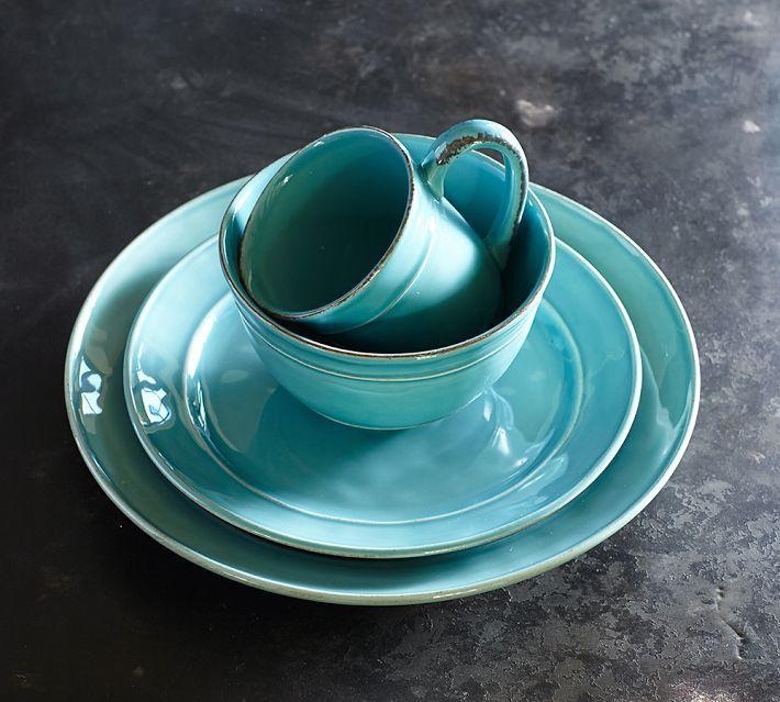 Handmade Ceramic Platter In Coastal Kitchen: Pottery Barn. Cambria Dinnerware