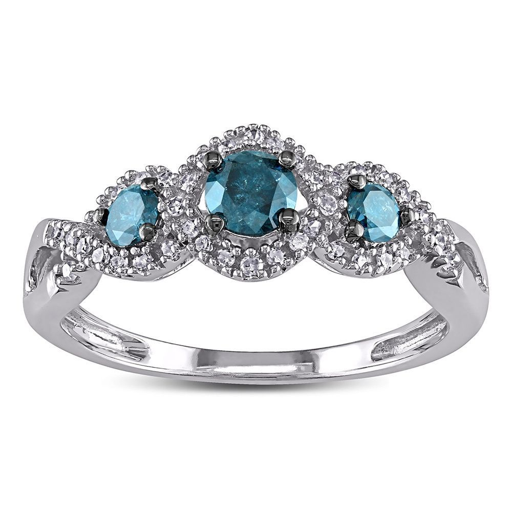 2ct Blue And White Diamond Tw 3 Stone Ring 14k White Gold Rhodium  Plated By Miadora