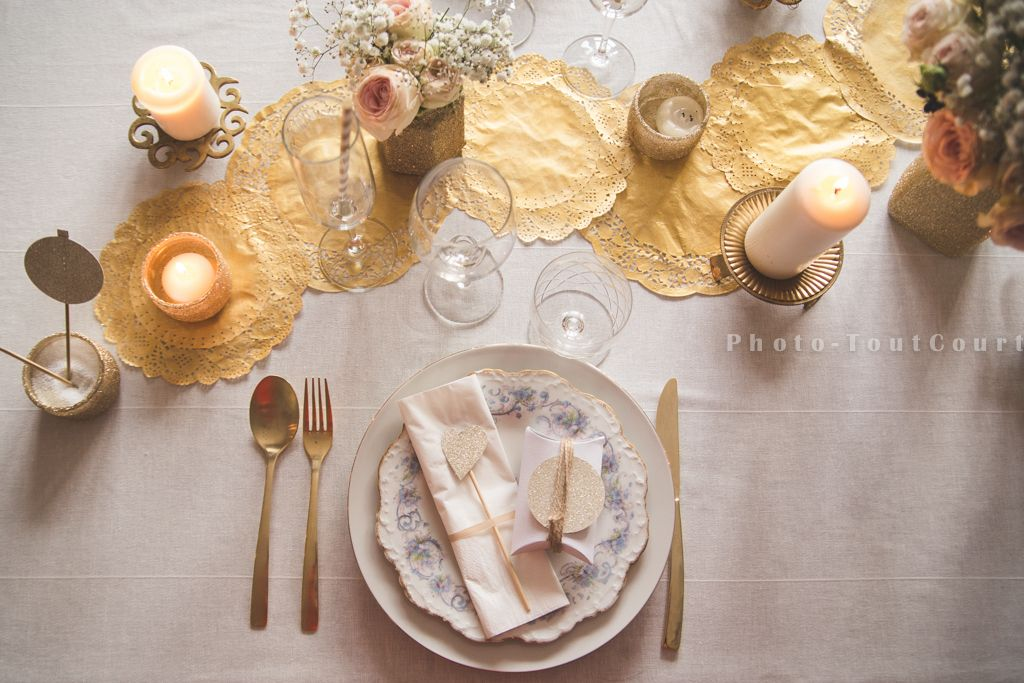 Deco table noel blanc et or