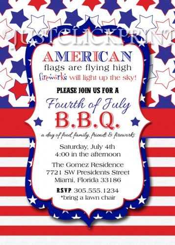 4th Of July BBQ Red White Blue Fourth Printable Invitation