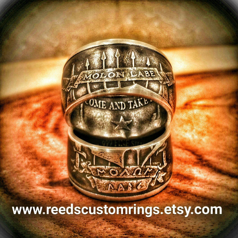 78d1f3d95fcd Pure Silver Molon Labe Coin Rings