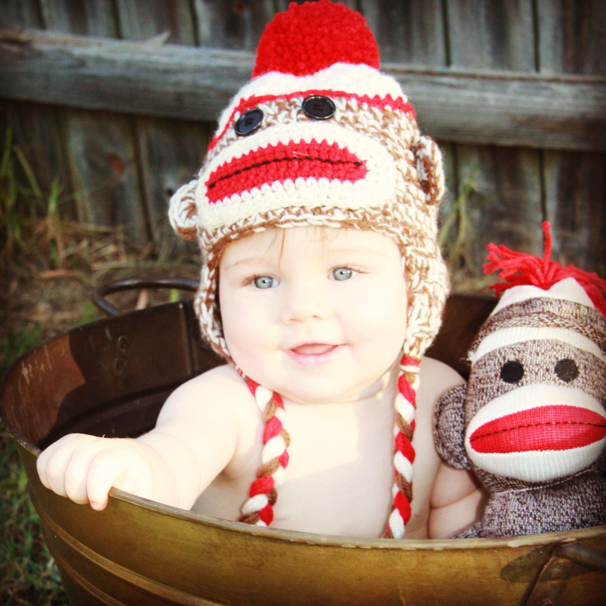 Sock Monkey first birthday invite photo | Rowens 1st Birthday ...