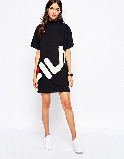 ba2f0ccfc7d207 Fila High Neck T-Shirt Dress With Large Front Logo | Outfits | Fila ...
