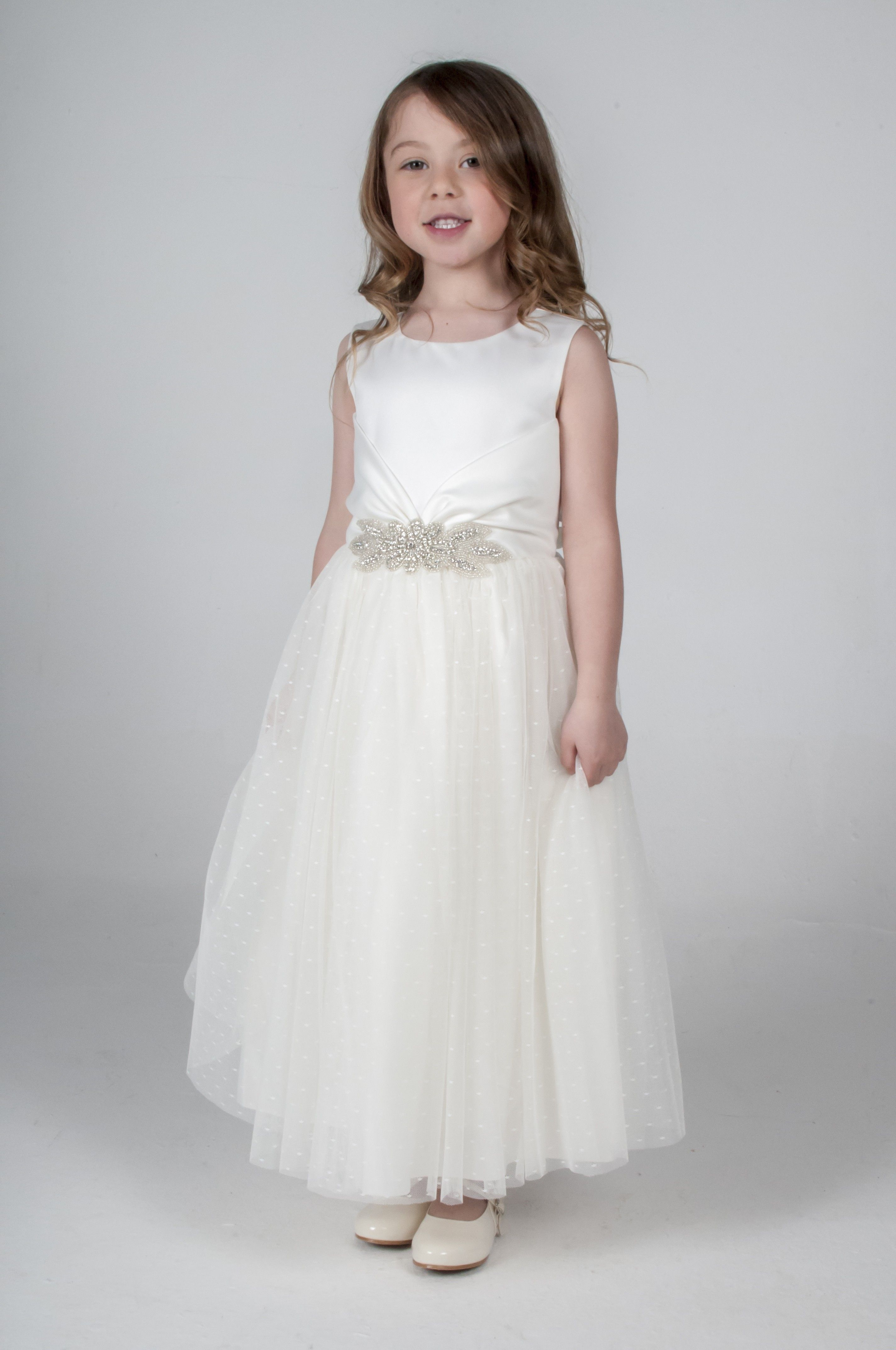 Girls wedding dress  Ivory Diamante Flower Girl Bridesmaid Dress available in other