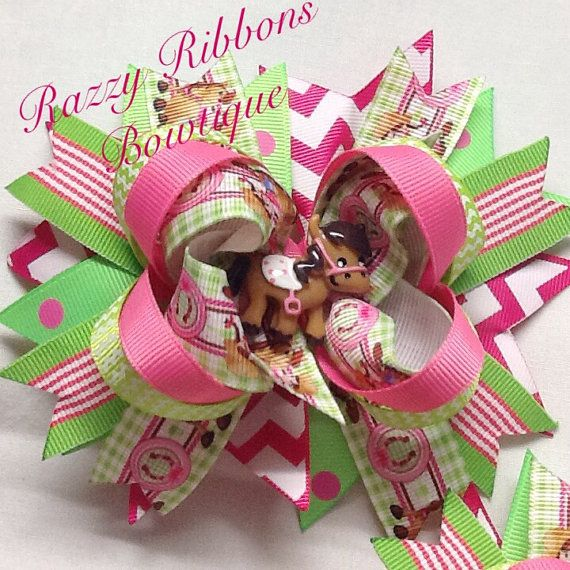 Little Cowgirl and Pony Hair Bow Girls by RazzyRibbonsBowtique