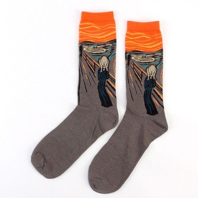 fashion amazing 3d print art socks women men cotton harajuku design famous painting sock van Gogh Mona Lisa funny sokken