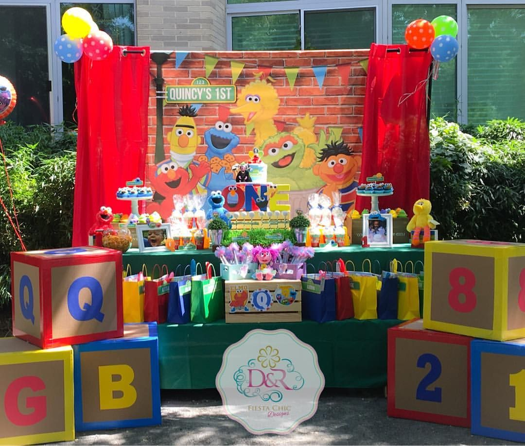 SESAME STREET BEGINNINGS PLASTIC TABLE COVER ~ First Birthday Party Supplies