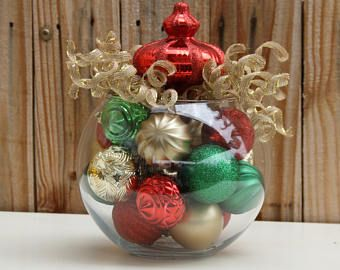 Christmas Table Decor Centerpiece Red Green And Gold Holiday Home Dec Holiday Party Decorations Holidays Decorations Valentines Christmas Table Decorations
