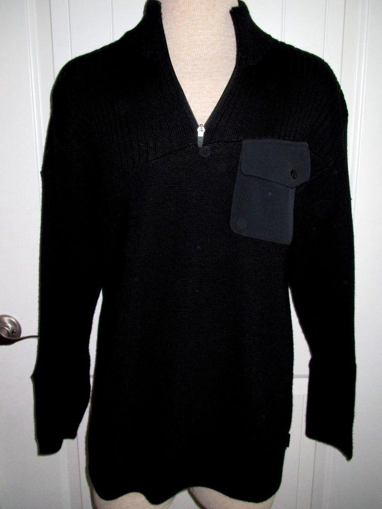 OBERMEYER Ski Sweater Mens LG Black Wool Acrylic Blend 1/4 Zip Front Layer  #Obermeyer #12Zip